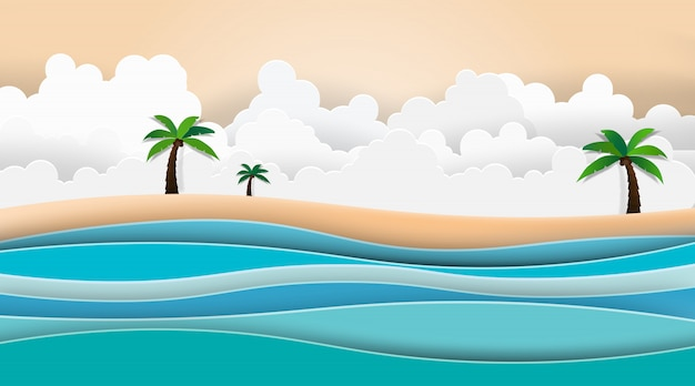 Krajobraz widok na morze z letnią plażą.