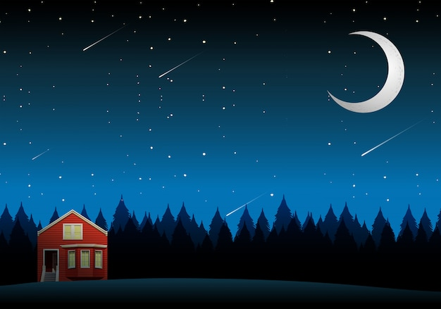 Krajobraz wiejski dom w nocy