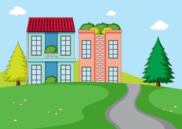 Krajobraz wiejski dom wiejski