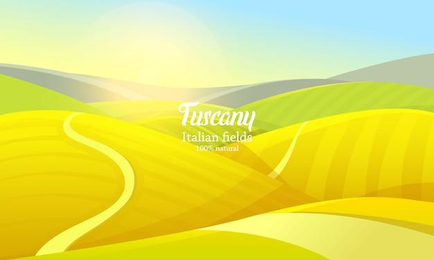 Krajobraz wiejski. rolnictwo rolnicze. ilustracja. plakat z łąką