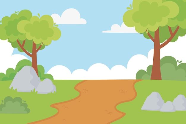 Krajobraz wiejski ścieżka drzewa krzewy kamienie i ilustracja kreskówka niebo