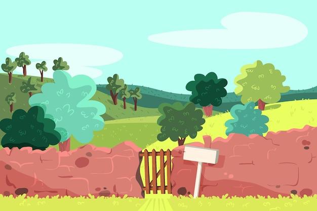 Krajobraz wiejski z ceglanym ogrodzeniem