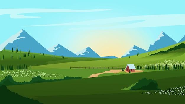 Krajobraz wiejski z górami
