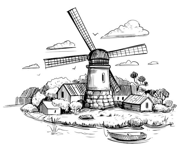 Krajobraz wiejski z młynem. ręcznie rysowane ilustracja na białym tle