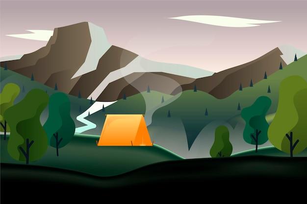 Krajobraz wiejski z namiotem