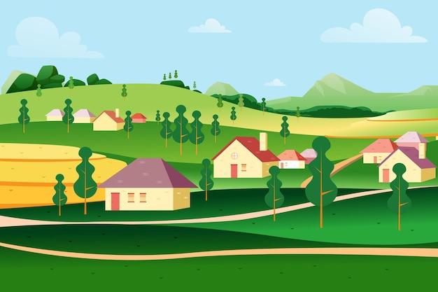 Krajobraz wiejski z rustykalnymi domami