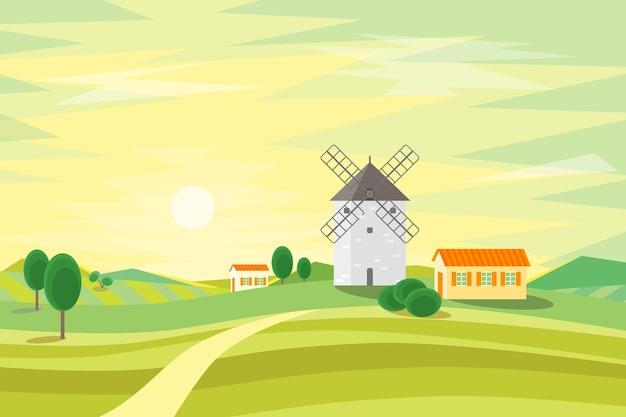 Krajobraz wiejski z tradycyjnym starym wiatrakiem. styl płaski.