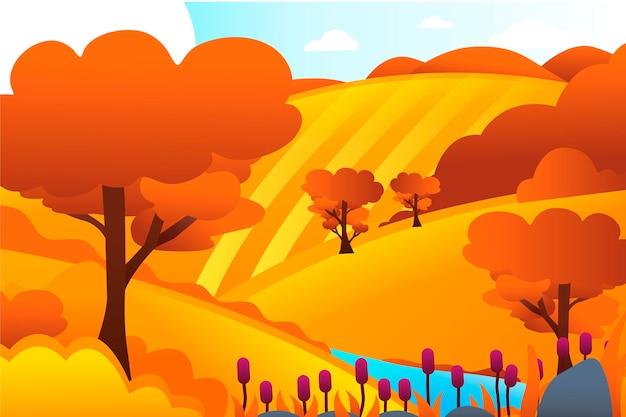 Krajobraz wiejski ze wzgórzami