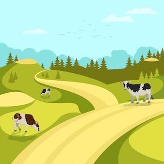 Krajobraz wsi drzewa błękitne niebo wypas krów