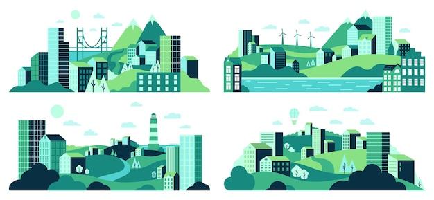 Krajobraz wsi. minimalistyczne widoki na miasto, dzielnica domów miejskich, dzienny krajobraz z zestawem ilustracji budynków, drzew i wzgórz. widok na miasto i wieś, budynek mieszkalny