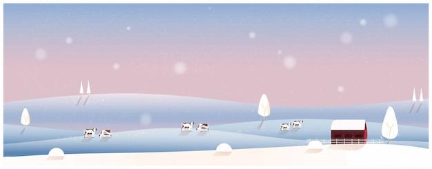 Krajobraz wsi w tle zimy