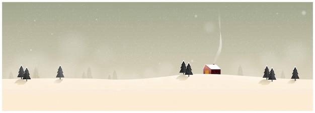 Krajobraz wsi w zimie