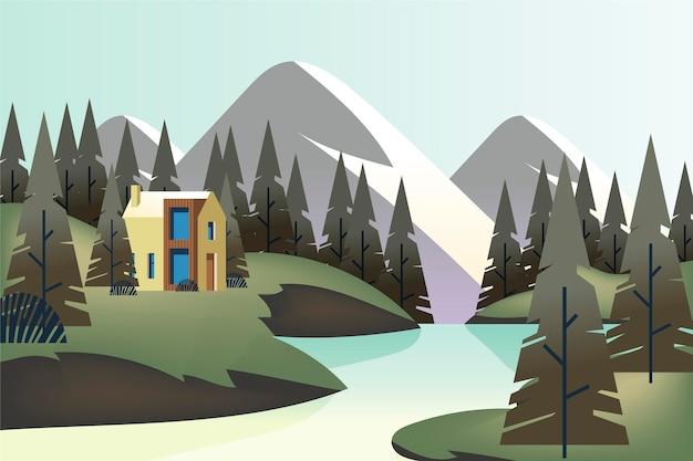 Krajobraz wsi z domem i rzeką