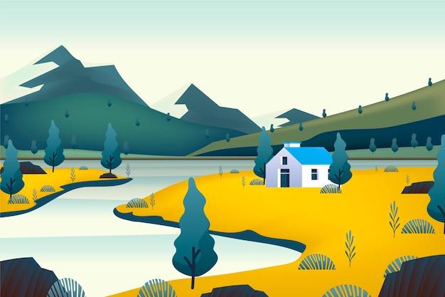 Krajobraz wsi z domem
