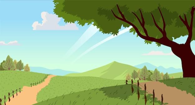 Krajobraz wsi z drzewem