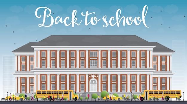 Krajobraz z autobusem szkolnym, budynkiem szkolnym i ludźmi. koncepcja edukacji z częścią życia w mieście.