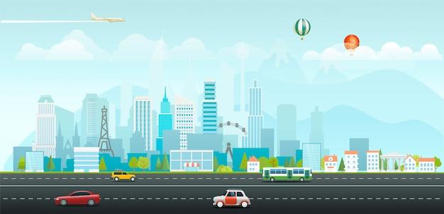 Krajobraz z budynkami i pojazdami. poranne życie miasta