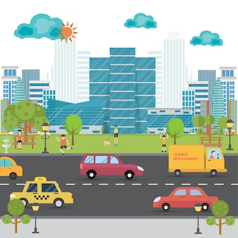 Krajobraz z budynkiem, parkiem, ludźmi i transportem w mieście. ilustracja życia miasta.