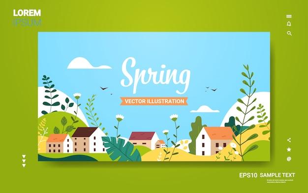 Krajobraz z budynków wzgórza kwiaty liście kwiatowy wiosna karty lub plakat z życzeniami poziome