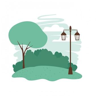 Krajobraz z drzew i roślin ikona na białym tle
