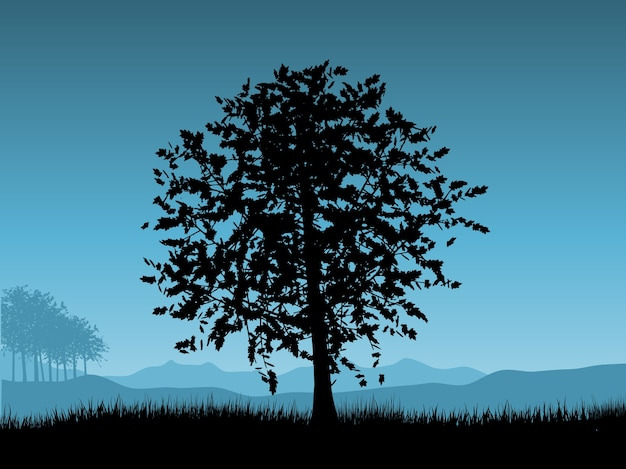 Krajobraz z drzewami na nocnym niebie