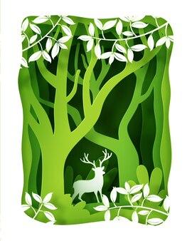 Krajobraz z głęboką plantacją leśną i jeleniami.