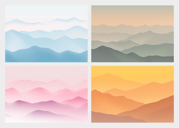 Krajobraz Z Górami Abstrakcyjne Tło Z Nowoczesnym Kolorem Gradientu Ilustracja Wektorowa Premium Wektorów