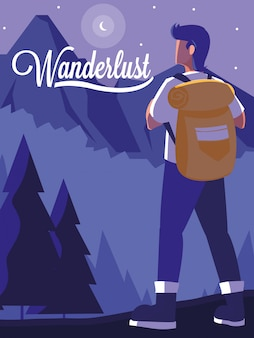 Krajobraz z górami i podróżnikiem