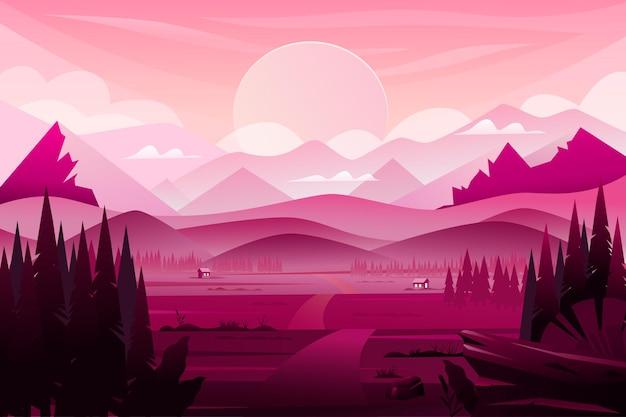 Krajobraz z górami i zachodem słońca