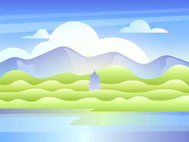 Krajobraz z górami, jeziorem i wschodnią pagodą