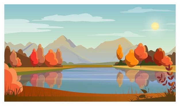 Krajobraz z jeziorem, drzewami, słońcem i górami w tle