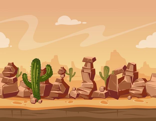 Krajobraz z kamieniami i kaktusem