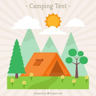 Krajobraz z kemping namiot pomarańczowy
