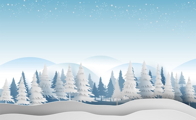 Krajobraz z lasu zima sezon płatki śniegu