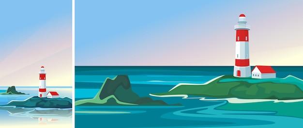 Krajobraz z latarnią morską o świcie