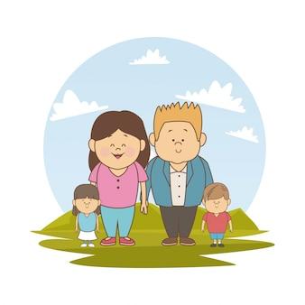 Krajobraz z młodą parą rodziców i małych dzieci