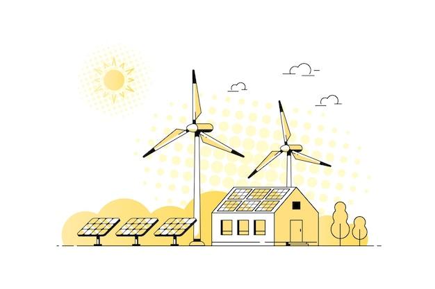 Krajobraz z nowoczesnym domem, panelami słonecznymi i turbinami wiatrowymi. eco house, energooszczędny dom, projekt transparentu koncepcji zielonej energii. ilustracja wektorowa płaski.