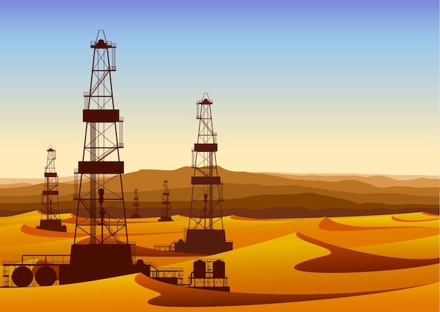Krajobraz z platformami wiertniczymi na jałowej pustyni z wydmami. szczegółowa ilustracja wektorowa.