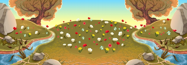 Krajobraz z rzekami i kwiatami. ilustracja wektorowa tła.