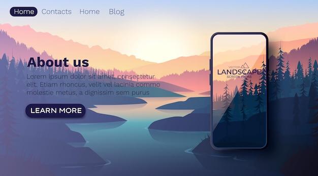 Krajobraz z sylwetkami gór i górskiej rzeki. ściana natury. ekran smartfona