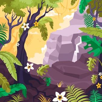 Krajobraz z tropikalnymi drzewami, skałami i kwiatami