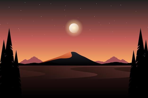 Krajobraz z widokiem na góry i gwiaździste nocne niebo ilustracja
