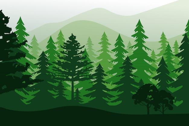 Krajobraz z zielonego lasu na białym tle.