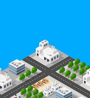 Krajobraz zakładu obiektów przemysłowych, fabryk, parkingów
