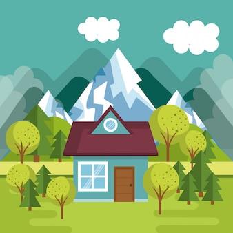 Krajobraz ze sceną domową