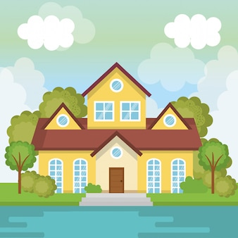 Krajobraz ze sceną domu i jeziora