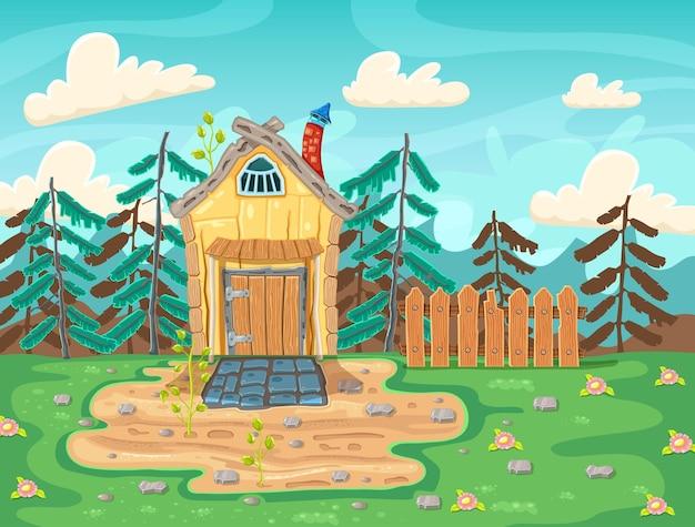 Krajobraz Ze Starym Domem We Wsi Premium Wektorów