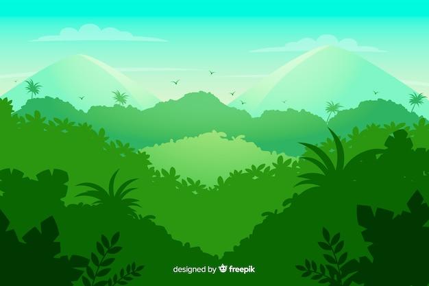 Krajobraz zielonego lasu tropikalnego
