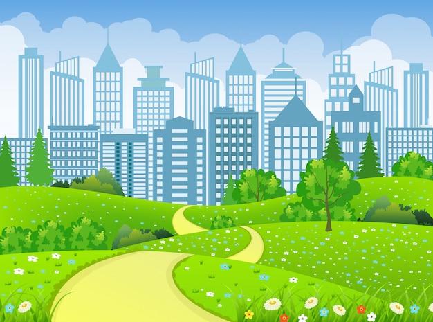 Krajobraz zielonego miasta z drogi