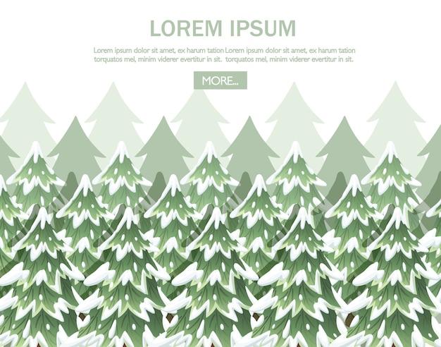 Krajobraz zielony świerk. kolekcja zielonych świerków. evergreen. choinka na śniegu. ilustracja na białym tle.